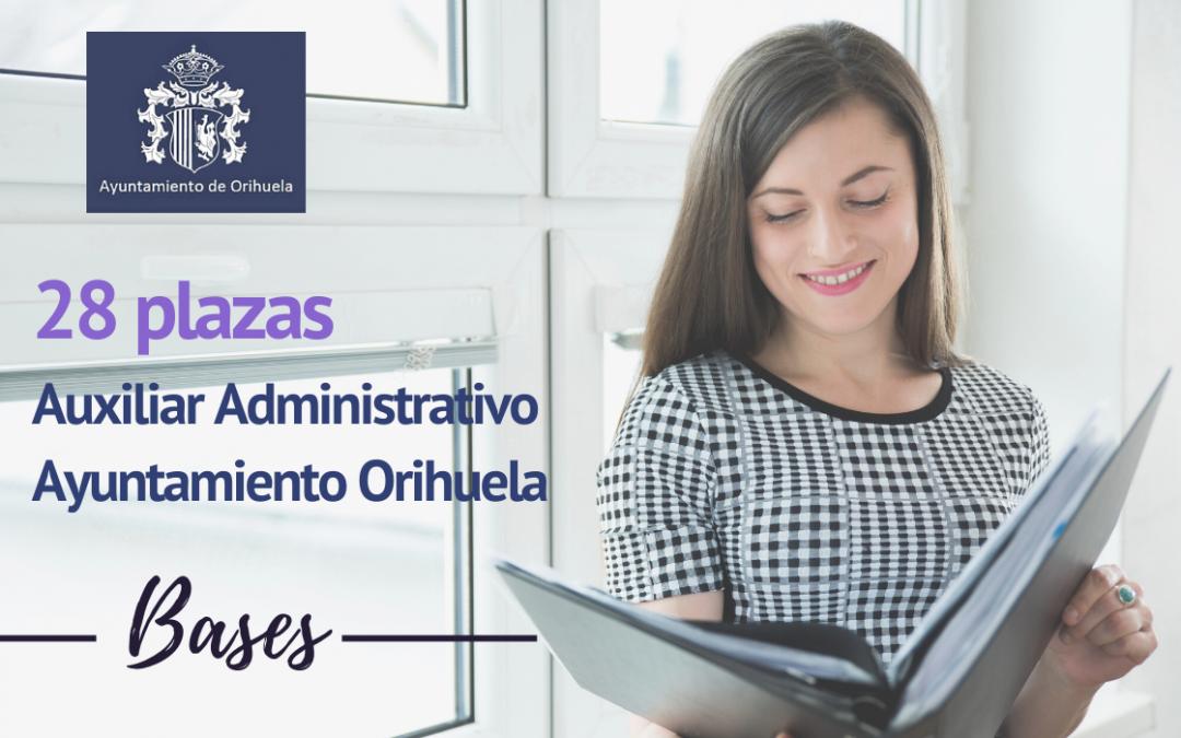 Bases 28 plazas Auxiliar Administrativo Ayuntamiento de Orihuela